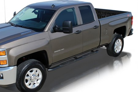 "1999-2013 GMC Sierra 1500 Extended Cab 4"" Oval Curved Black Nerf Bars"